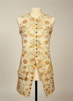 Waistcoat 1740, British, Made of silk brocade