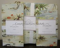 3P Pottery Barn PALM SCENE Beach Duvet STANDARD Shams Set FULL/QUEEN