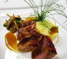 Delicious! Wild Mushrooms, Stuffed Mushrooms, Squash Puree, Oven Roast, Grand Hotel, Mashed Potatoes, Steak, Roast Lamb, Dishes