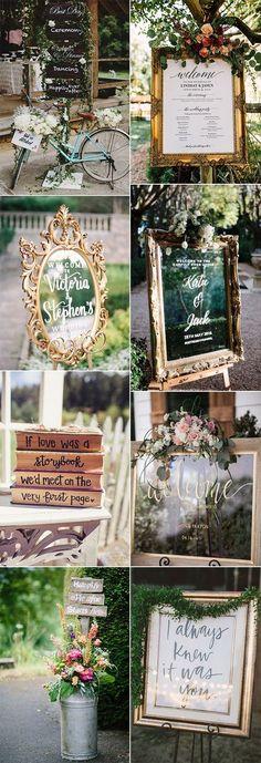 shabby chic vintage wedding sign decoration ideas