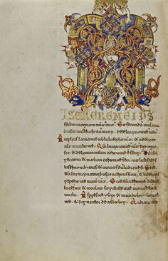 Inhabited Initial M; Unknown; Montecassino, Italy; 1153; Tempera colors, gold leaf, gold paint, and ink on parchment; Leaf: 19.2 x 13.2 cm (7 9/16 x 5 3/16 in.); Ms. Ludwig IX 1, fol. 171v