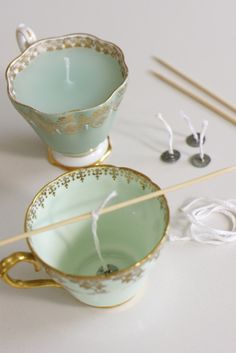 DIY candles in tea cups! Candle Craft Project. Good use for mix-matched dishes or put up a few randoms at @TuesdayMorning
