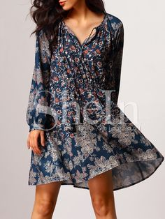 Navy Long Sleeve Vintage Print Dress