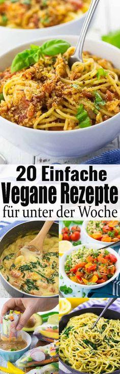 Einfache vegane Rezepte gesucht? Dann ist dieser Beitrag genau richtig für euch! Hier findet ihr schnelle vegetarische Rezepte für den Alltag ganz ohne Fleisch, Fisch, Eier und Milch! via @veganheavende