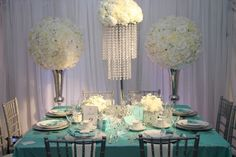 Love this for a Breakfast at Tiffanys themed bridal shower .... Just minus the carnations :)