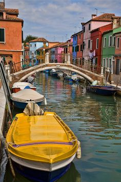 Yellow Boat in Burano, Italy