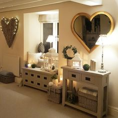 Extra large wicker wall art...lounge ... heart mirror...cosy.