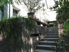 stone wall steps outdoor