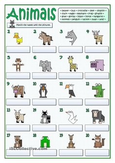 practice on vocabulary. The topic is animals. Students match the names of animals given above with the pictures. English Writing, English Class, English Lessons, English Grammar, Teaching English, Learn English, Teaching Vocabulary, Vocabulary Words, English Resources