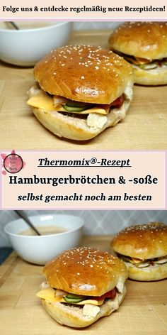 Hamburger rolls & hamburger sauce - best made by yourself - Thermomix - I tried a lot of hamburgers: some were fantastic, others less so. But going out for dinner is really - Hamburger Sauce, Homemade Hamburger Buns, Homemade Burgers, Evening Meals, Food Items, Vegetarian Recipes, Good Food, Easy Meals, Food And Drink