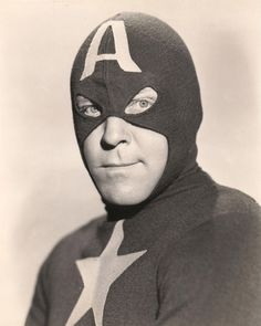 """Republic serial, 1944...""""Captain America"""" which ran wildly over-budget, starred Dick Purcell. Sadly he was to die just after filming finished."""