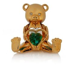 24K Gold Plated May Birthstone Bear Ornament with Emerald and Clear-Cut Crystals