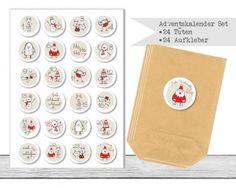 "www.papierbuedchen.de - DIY Adventskalender \"" Tüten & Aufkleber \"" (K42)"
