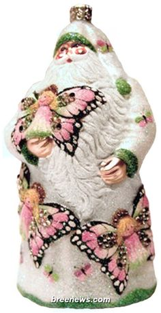 Santa For Vona, Pearl, Patricia Breen (Angels, Butterflies, Pearl/white, Pink, Christmas, Ornament, Holidays)