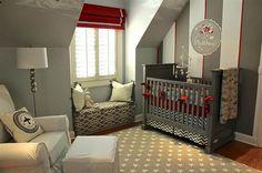 Оригинальная детская комната в серых тонах, дополненная предметами интерьера красного цвета.