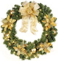 Home Decorators Collection Gold Christmas, Christmas Wreaths, Christmas Cards, Christmas Decorations, Christmas Tree, Holiday Decor, Battery Operated Christmas Wreath, Pre Lit Wreath, Poinsettia Wreath
