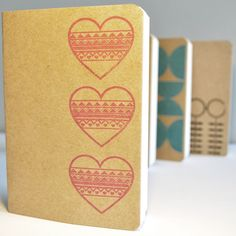 Hand Printed A6 Notebook - Hearts in Chalky Plum £6.00
