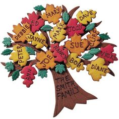 Our Family Tree Cookies - A great way to branch out with desserts for family celebrations. Cut tree, branches and cookies from cutters and tinted Roll Out Cookie Dough. Pipe family members' names with melted candy.
