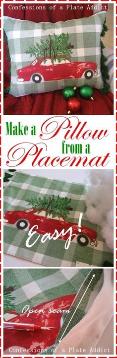 I've been eyeing those cute Christmas throw pillows with trees tied to the tops of a vintage truck or car…always red, of course! They remind me of choosing the perfect tree with my Daddy and my sister