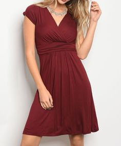 Classic Empire Waist Surplice V-Neck Soft Jersey Stretch Knit Fit Flare Dress #Fashion #ALineDress #Casual