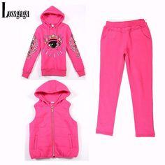 (Hoody+Pant+Vest) 2014 Winter New Women 3pcs Set Eyes Print Hoodies 44f44f115