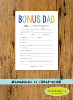 All About My Bonus Dad - Step Father's Day Gift - 5 x 7 Fill In - Bonus Dad Father's Day Gift,Daddy Gift,Happy Father's Day, Bonus Dad Gift by PaperEtiquette on Etsy
