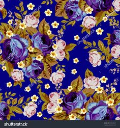 Blue cabbage roses and small white flowers ,seamless pattern 1-7