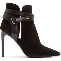 Burberry London Black Suede Finford Ankle Boots ($215) ❤ liked on Polyvore featuring shoes, boots, ankle booties, heels, black, burberry, short black boots, short heel boots, suede booties and heeled booties