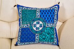 This blue 5 piece cushion cover set is made from foam. It is also decorated with Beautiful Design on Center also.