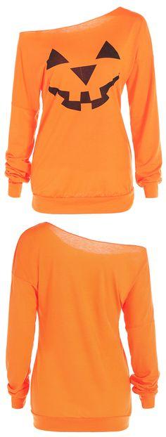 winter outfits:One Shoulder Pumpkin Print Halloween Sweatshirt