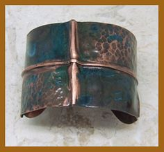 'Azure Peak' Copper Cuff with blue patina by Alene Geed #Copper