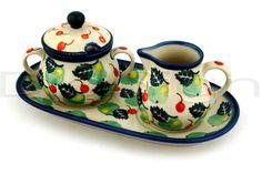 Polish Pottery 10-inch Sugar and Creamer Set | Boleslawiec Stoneware | Polmedia H5150B