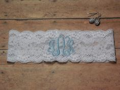 Monogrammed Garter, Monogram, Personalized Garter, Custom Garter, Blue Garter, Something Blue, Garter, Initals Garter, Wedding, Bridal by BloomsandBlessings on Etsy