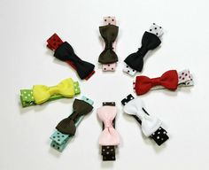 YOU PICK TWO Mini Bow Hair Clips Toddlers Girls by HipHopClipShop, $2.95