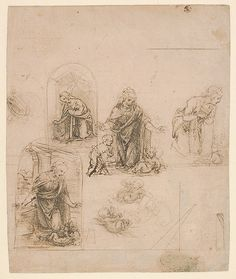 Compositional Sketches for the Virgin Adoring the Christ Child, with and without the Infant St. John the Baptist; Diagram of a Perspectival Projection (recto); Slight Doodles (verso)