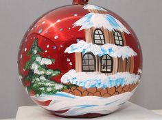 Hand Painted Christmas Ornament Red Glass Ball by aniamelisa, $18.90