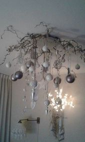 Nice idea with Christmas balls! ♡♡ # Decorating a Christmas tree Nice idea with . Christmas Tree Branches, Christmas Balls, Christmas And New Year, Christmas Tree Decorations, Christmas Home, White Christmas, Holiday Decor, Candles In Fireplace, Christmas Crafts