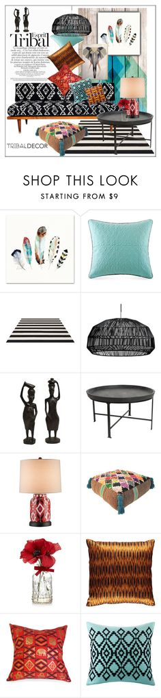 """Tribal Decor"" by frenchfriesblackmg on Polyvore featuring interior, interiors, interior design, home, home decor, interior decorating, ESPRIT, Echo Design, Ay Illuminate and Currey & Company"