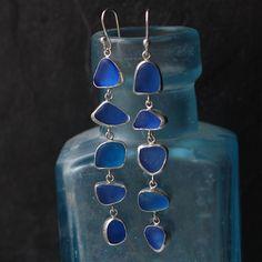 Cobalt Blue Five Drop Sea Glass Earrings in by ShardsbyTania