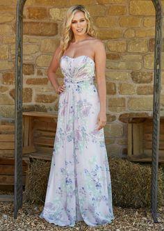 Bridesmaids, Bridesmaid Dresses, Floral Chiffon, Strapless Dress, Romantic, Wedding, Fashion, Bride Maid Dresses, Strapless Gown