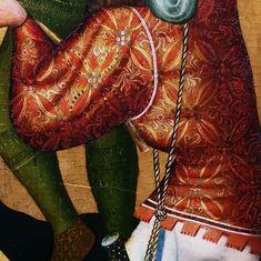 Details from the Grudziądz Polyptych by circle of Master of the Třeboň Altarpiece, ca. 1390, National Museum in Warsaw. © Marcin Latka #detail #grudziadzpolyptych #tebonaltarpiece #artinpl #nationalmuseuminwarsaw #wittingau #knight #medieval #dagger #barbute #helmet #14thcenturyfashion #medievalfashion Red Leather, Leather Jacket, Medieval Fashion, 14th Century, National Museum, Warsaw, Knight, Helmet, Detail