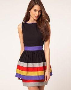 Peplum Dress With Ribbon Trim