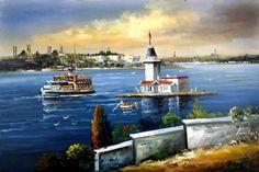 Gemi ve Kız Kulesi Tablo kkt011 Istanbul City, Z Arts, Decoupage Paper, Oil Painting Abstract, Antalya, Lighthouse, Oil On Canvas, Watercolor, Landscape