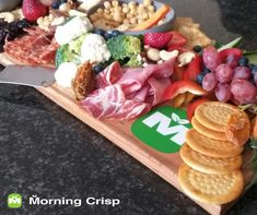 There's nothing like fresh Morning Crisp goodies combined with some delicious cold meats and cheese to enjoy with your friends! Meat And Cheese, Charcuterie Board, Crisp, Recipies, Goodies, Cold, Friends, Recipes, Sweet Like Candy