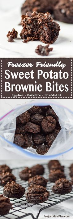 Freezer Friendly Sweet Potato Brownie Bites recipe - Sweet potato brownie bites are perfect to store in the freezer for your dessert cravings! Eggless + vegan options! - http://ProjectMealPlan.com