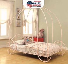 This Coaster Furniture Iron Beds and Headboards Collection Massi Youth Twin Canopy Carriage Bed - Pink is fit for a princess and will be a delightful. Pink Twin Bed, Twin Canopy Bed, Coaster Furniture, Fine Furniture, Bedroom Furniture, Furniture Outlet, Furniture Market, Furniture Online, Rustic Furniture