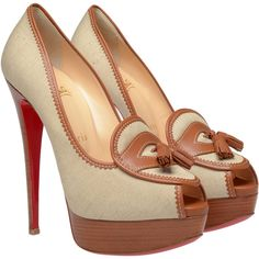 CHRISTIAN LOUBOUTIN 'Campus' Canvas Platform Pumps ($980) ❤ liked on Polyvore