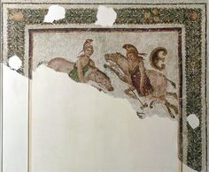 Mosaic fragment depicting two amazons and their horses, protected by Artemis. (early 3rd century)   Author: Ad Meskens