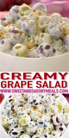Grape salad is a simple dessert that can be easily prepared on a whim. An easy recipe with very few ingredients, even those who can't cook can prepare this! Recipes with few ingredients Creamy Grape Salad Recipe - Sweet and Savory Meals Salad Recipes Video, Jello Recipes, Fruit Salad Recipes, Appetizer Recipes, Easter Recipes, Grape Salad Recipe With Cool Whip, Grape Salad Recipe Healthy, Grape Recipes Dessert, Dinner Recipes
