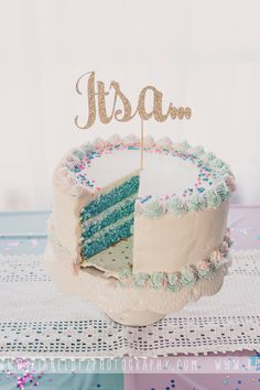Gender reveal cake. It's a... boy! Cake topper purchased from CouronneBoutique on Etsy.